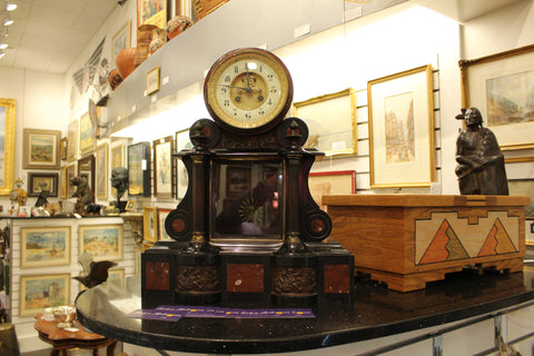 Antique French Black Slate and Red Marble Mantel Clock