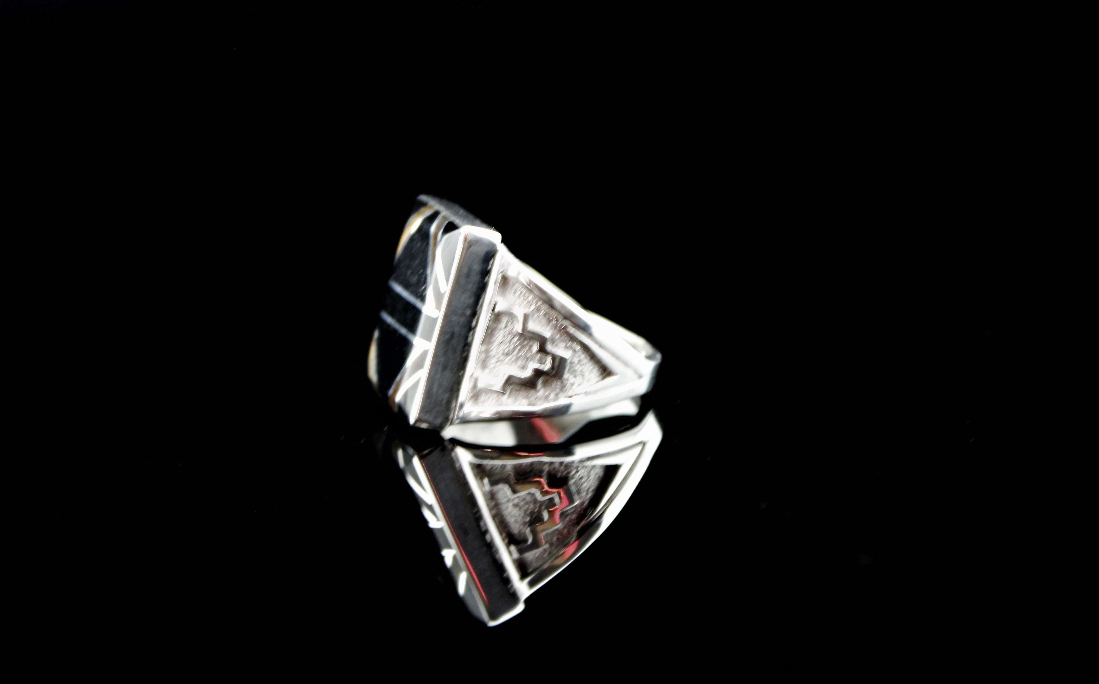 Abraham Begay Man's Sterling Onyx Ring