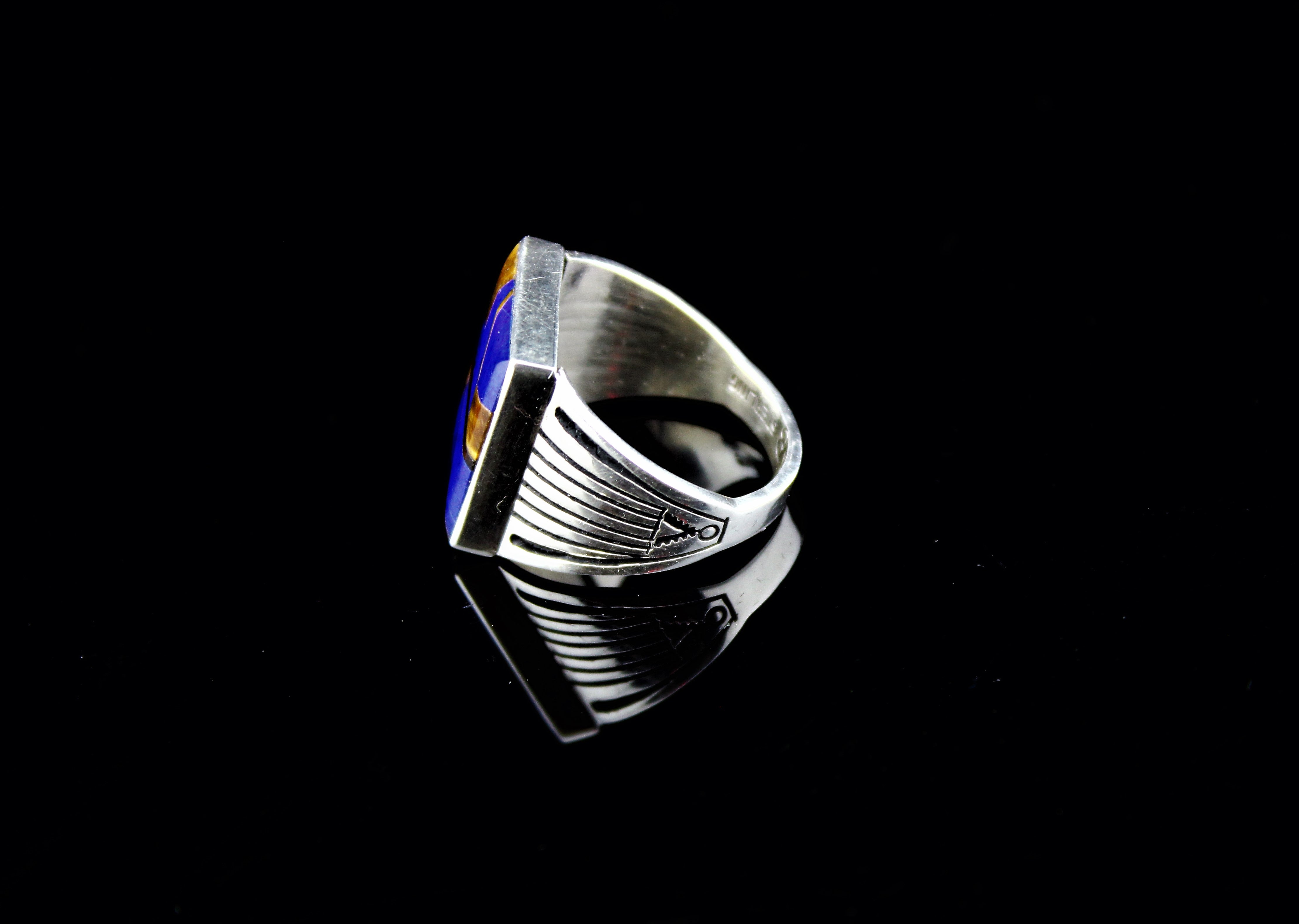 Abraham Begay Man's Sterling Lapis Ring