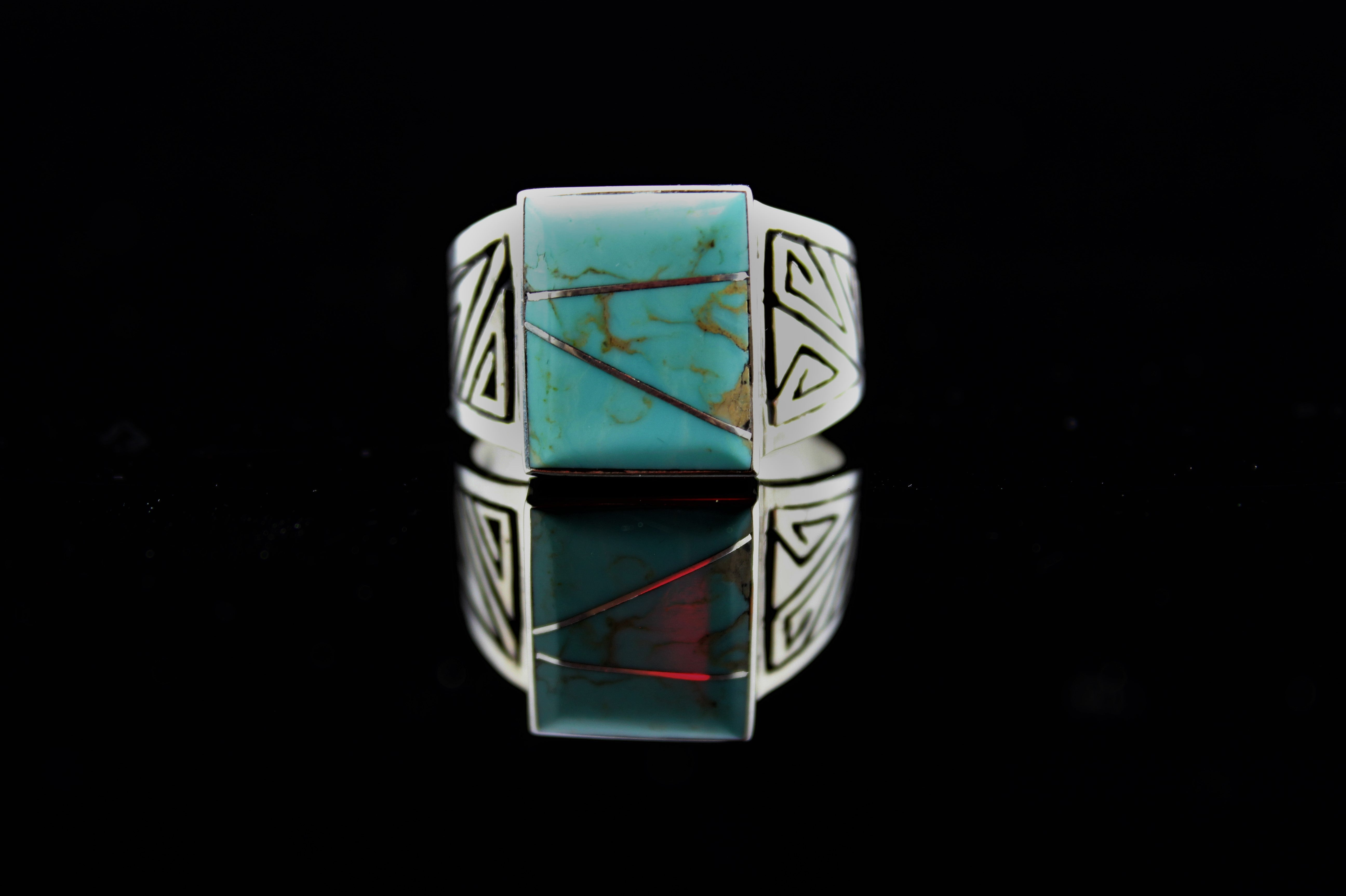 Abraham Begay Man's Sterling Turquoise Ring