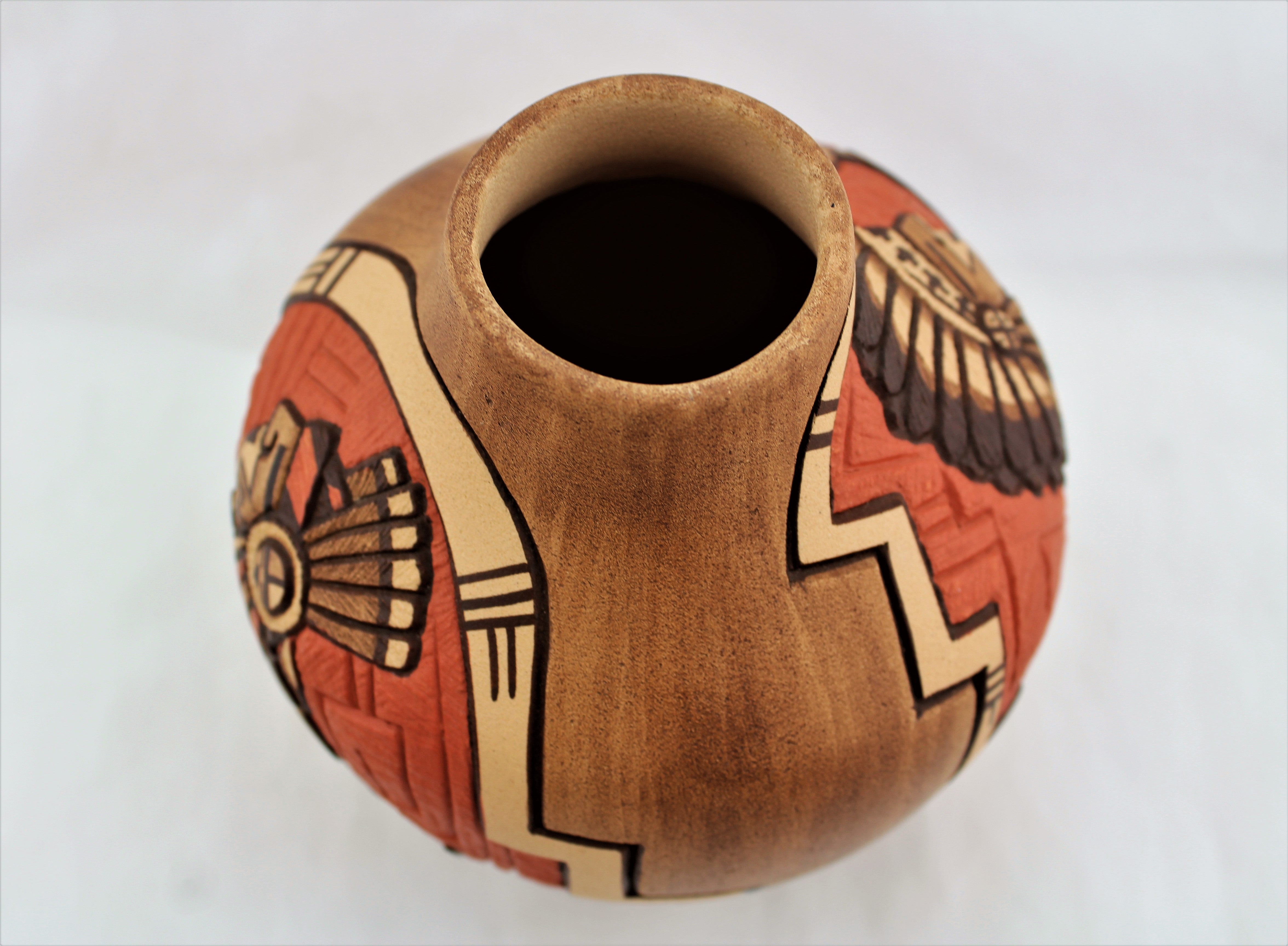 Marty Naha and Elvira Nampeyo Carved Redware Pottery