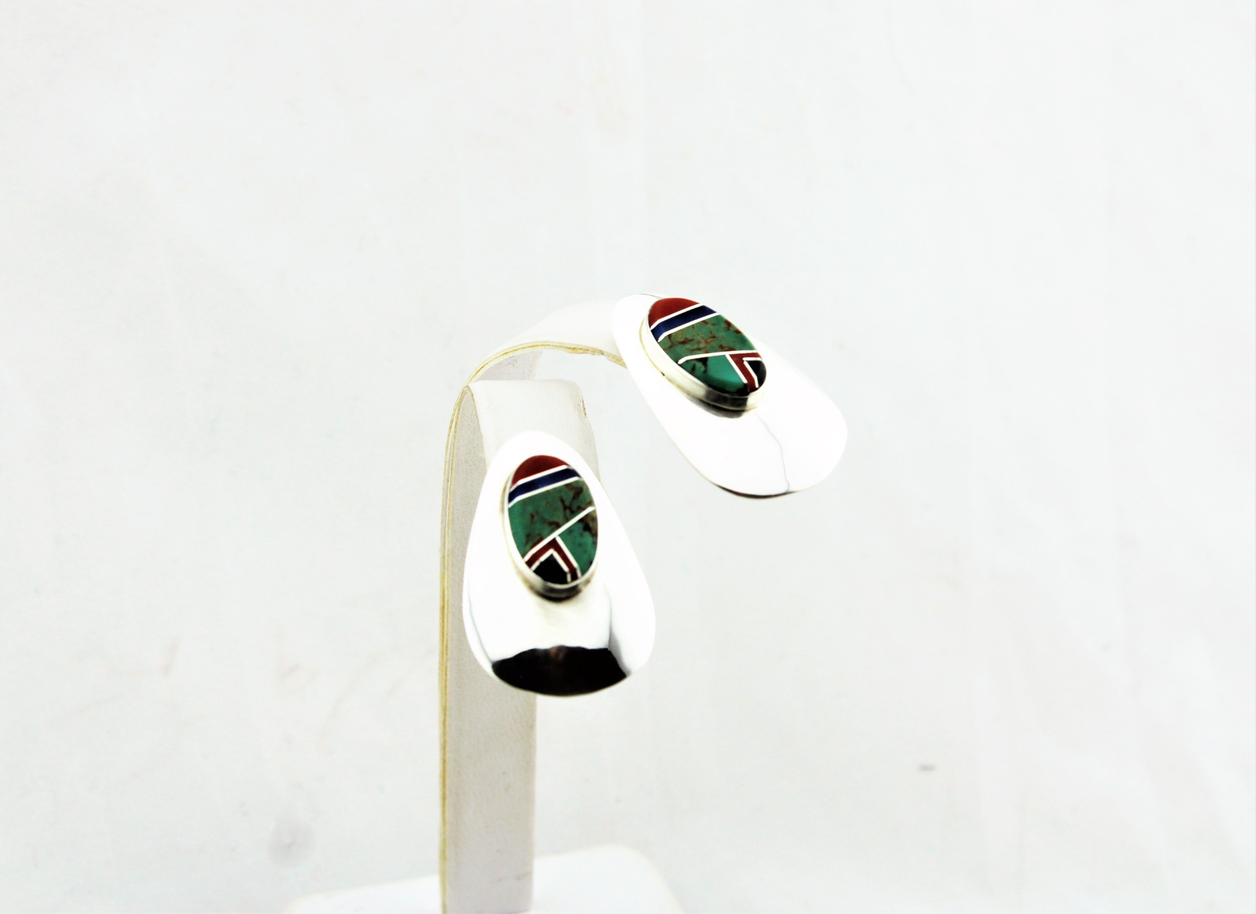 Abraham Begay Sterling Silver Micro-Inlay Earrings