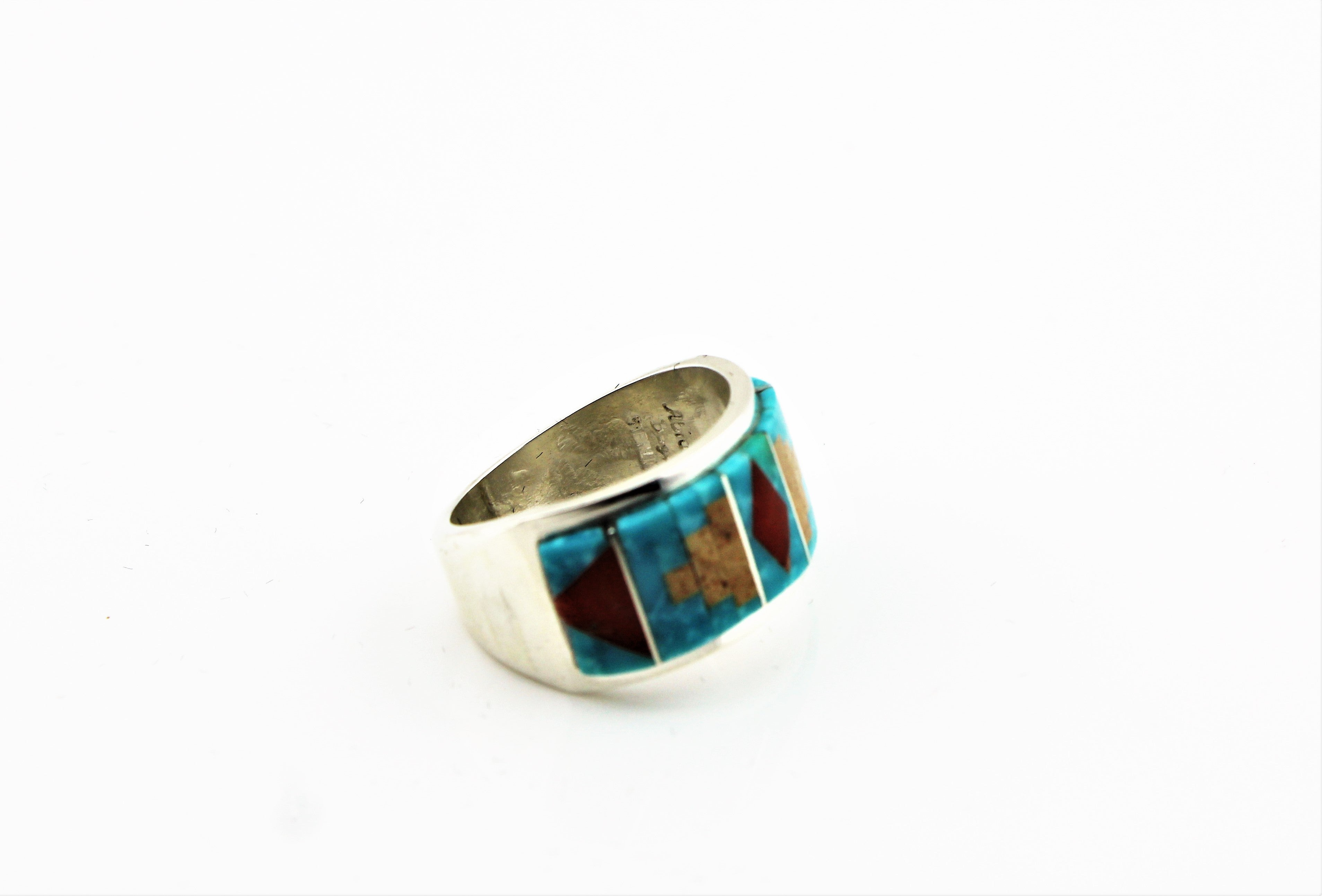 Abraham Begay Sterling Micro-Inlay Ring