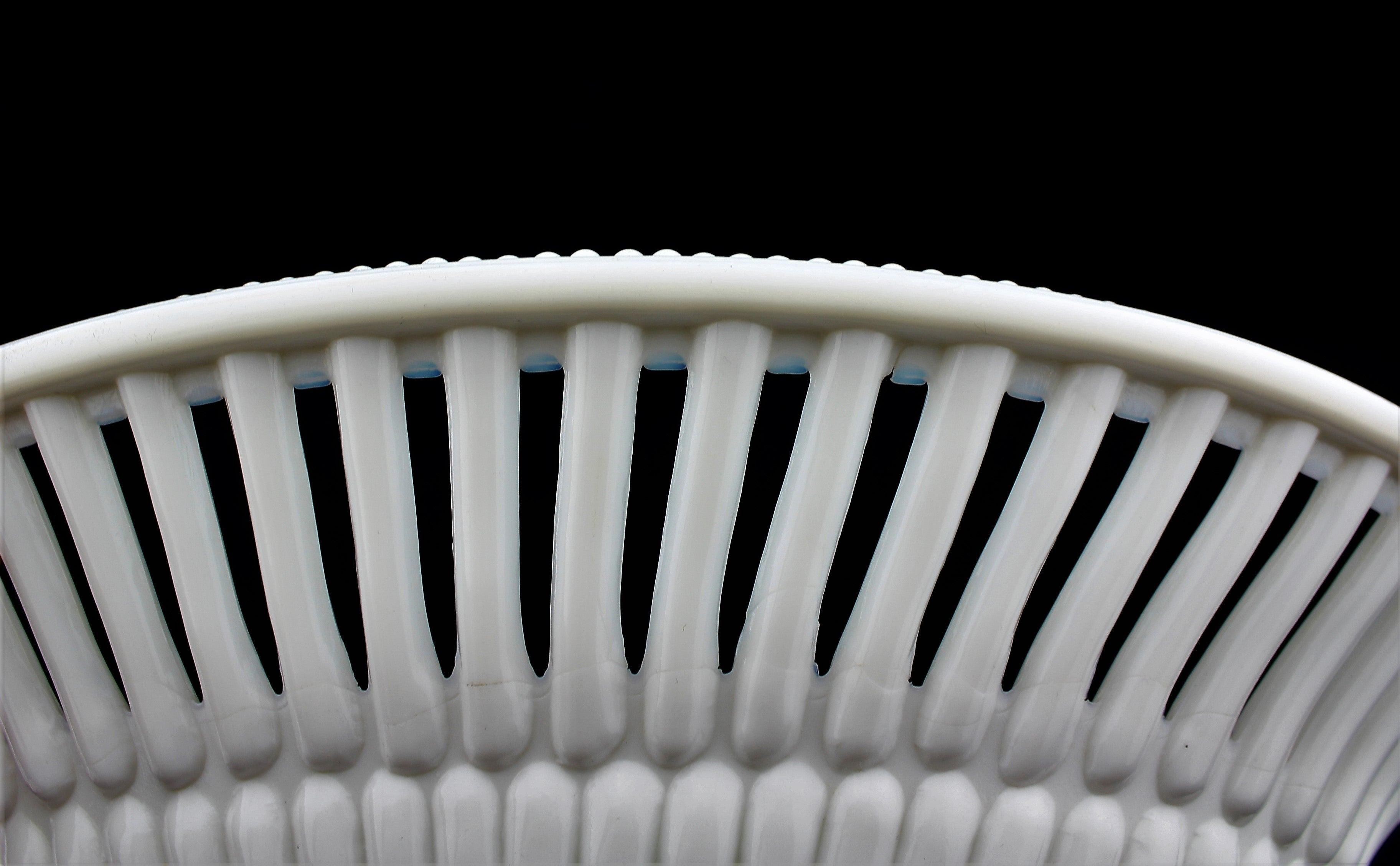 Antique Milk Glass Reticulated Bowl