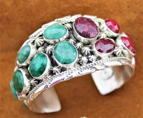 Natural Ruby and Emerald Sterling Silver Cuff