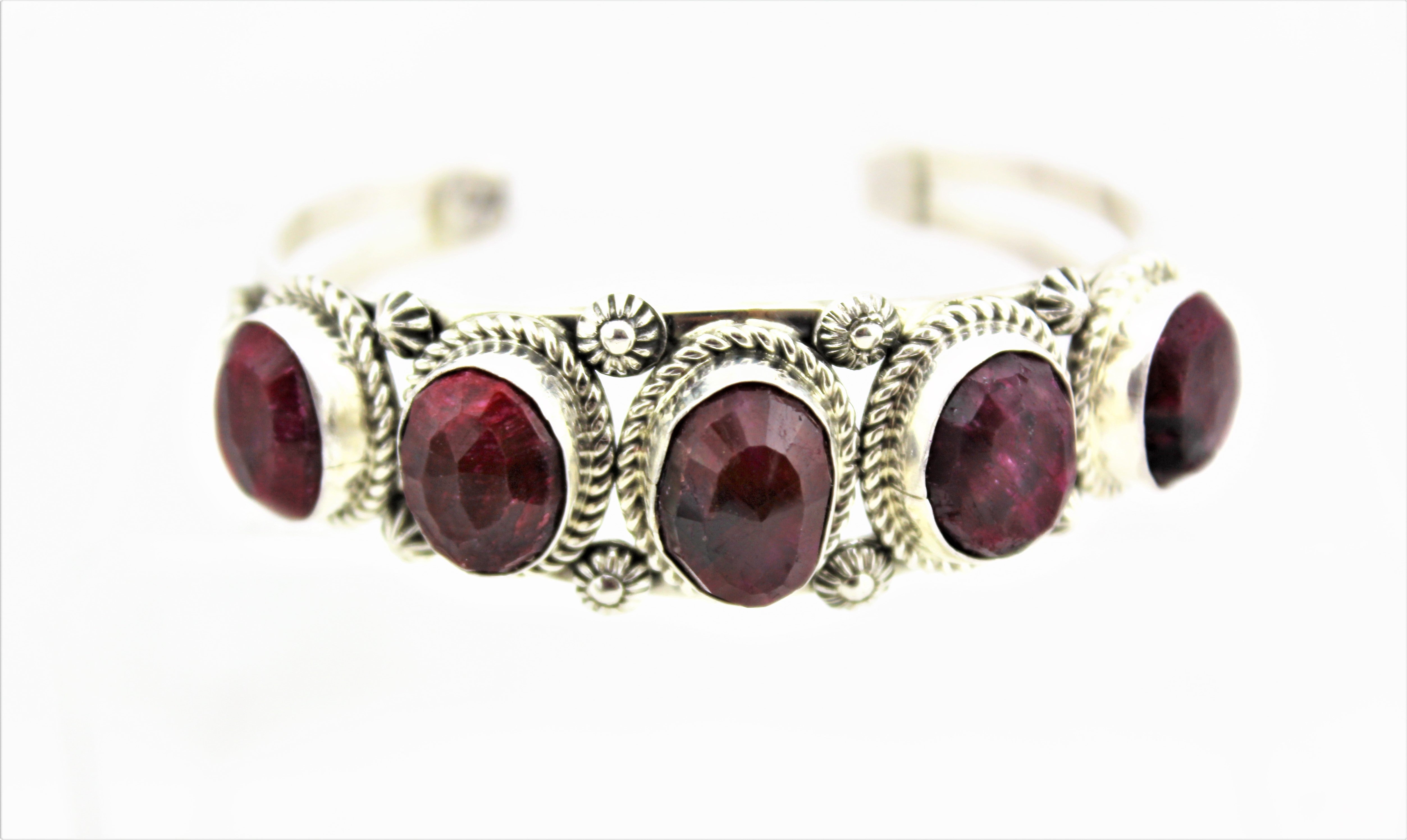 Natural Ruby Sterling Silver Bracelet