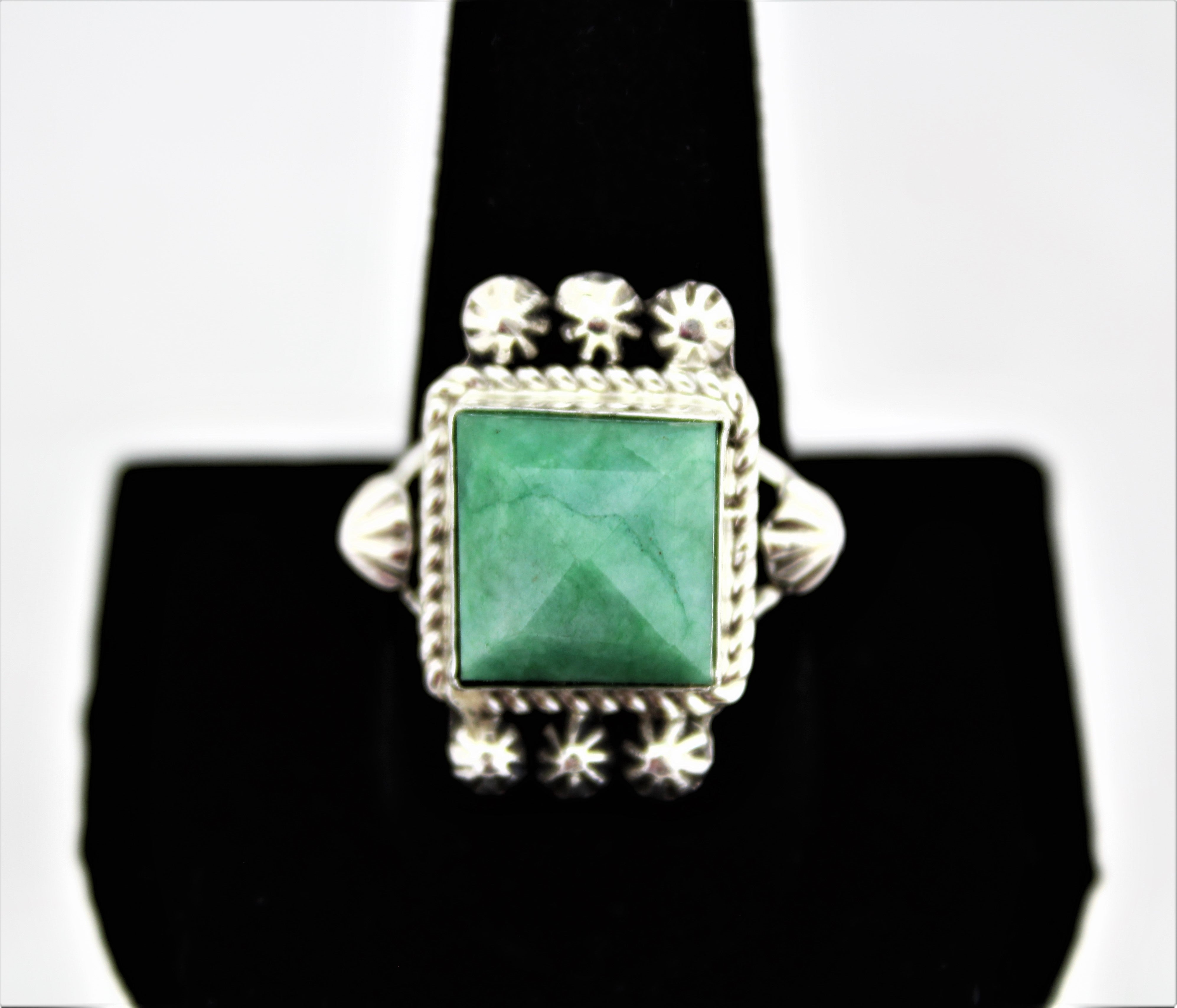 Emerald Sterling Silver Ring