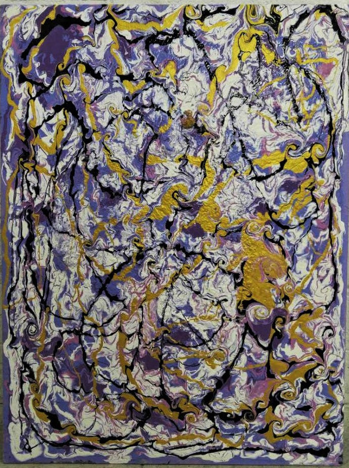 Purple Abstract Oil Painting on Board