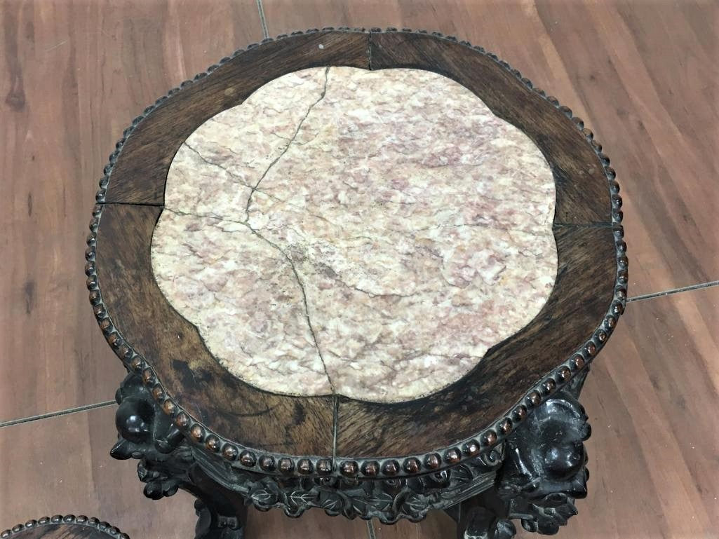 Carved Table Pair with Stone Top