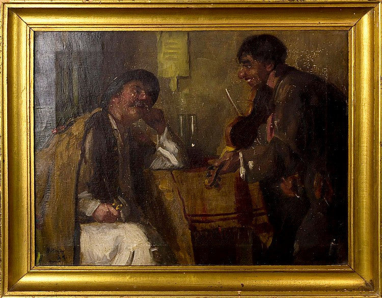 The Fiddler and a Gentleman at the Inn Oil Painting