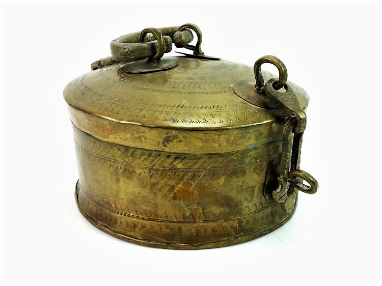 Antique Lidded Brass Box