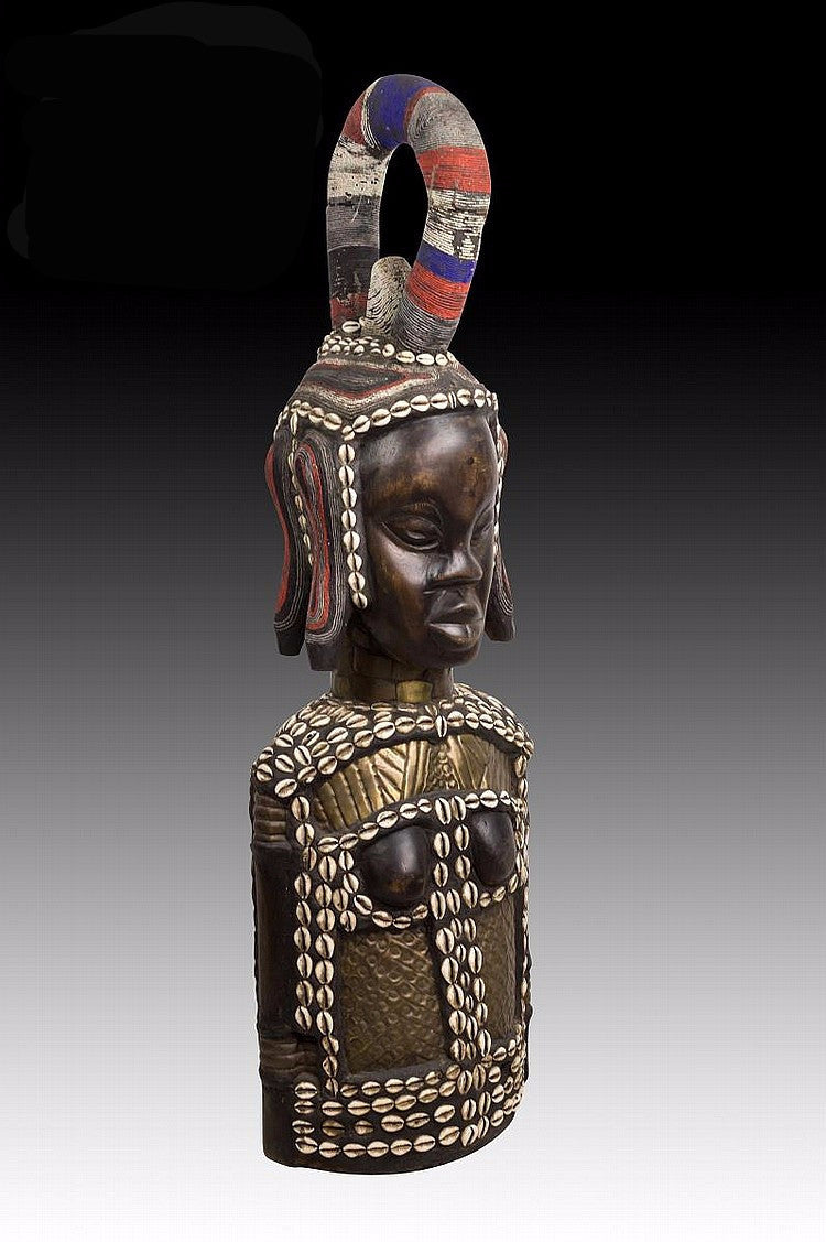 Antique African Female  Bust with Cowrie Shell and Beadwork