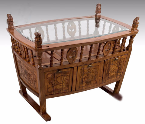 Carved Elm Wood Cradle Accent Table