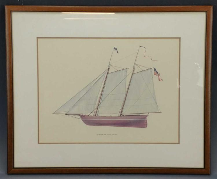 Lithographic Print of a Schooner
