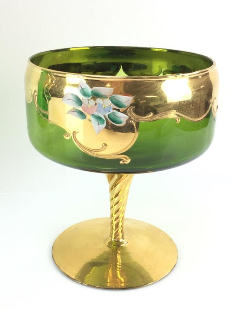 Bohemian High Enamel Emerald Glass Compote