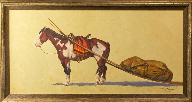 Oil Painting of a Horse Pulling Bag