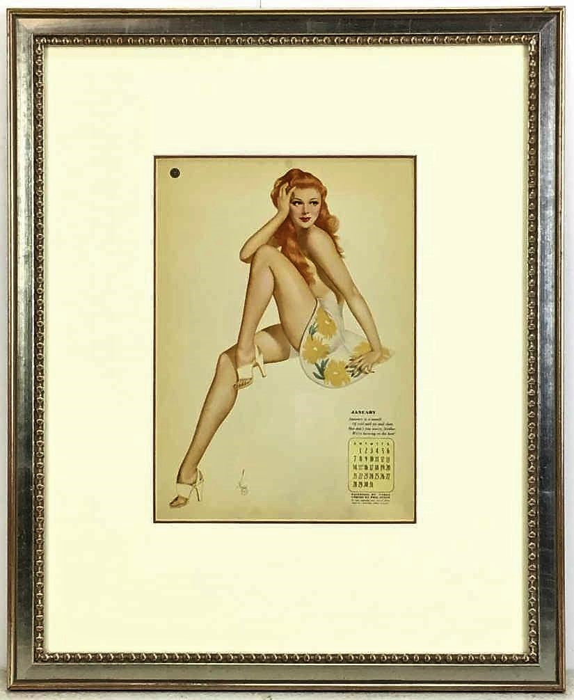 Framed Varga Pin Up Calendar Print Pair