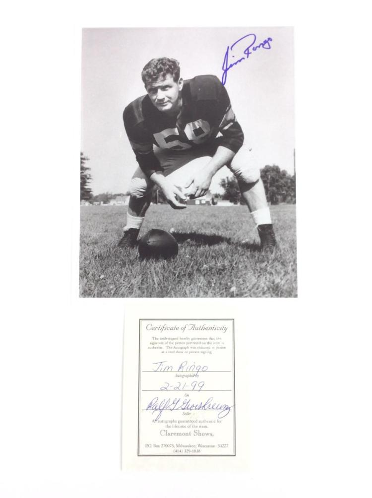 Jim Ringo Signed Green Bay Packers Photo