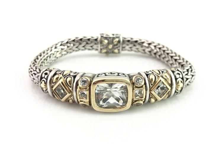 John Hardy Sterling Silver and 18K Gold White Sapphire Bracelet