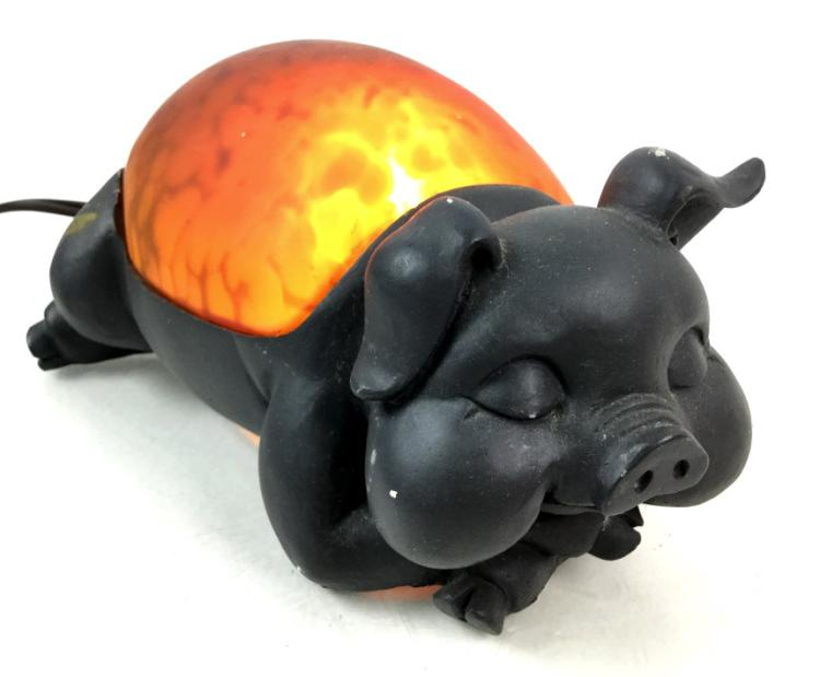 Amber Glass Pig Lamp
