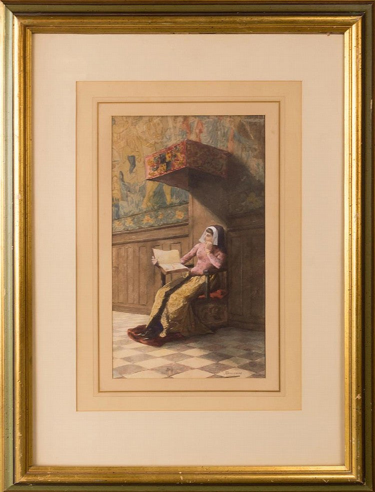 19th C. Watercolor and Gouache Painting of a Lady Reading