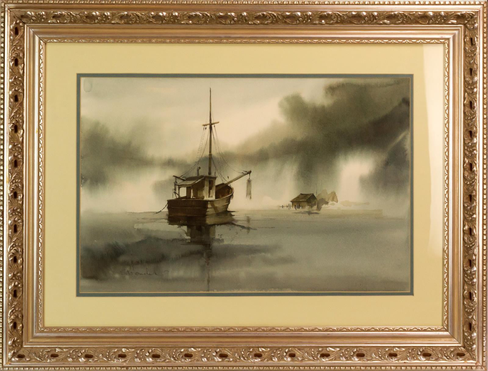 Boat at Sea Watercolor Painting