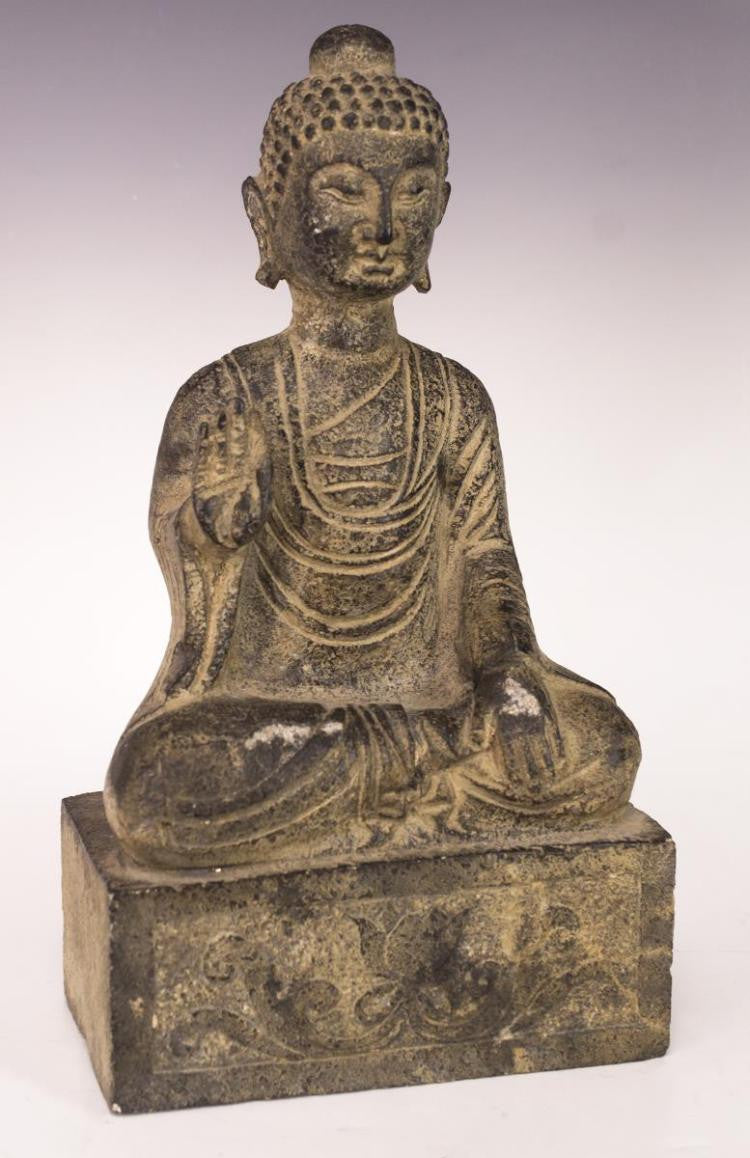 Antique Seated Buddha Stone Sculpture