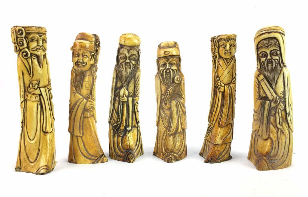 Carved Bone Immortal Figures