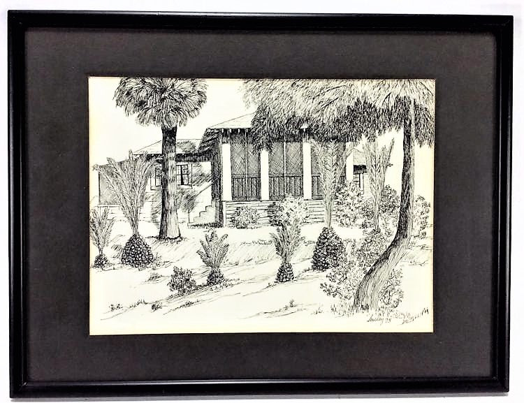 Signed Tropical Home Engraving