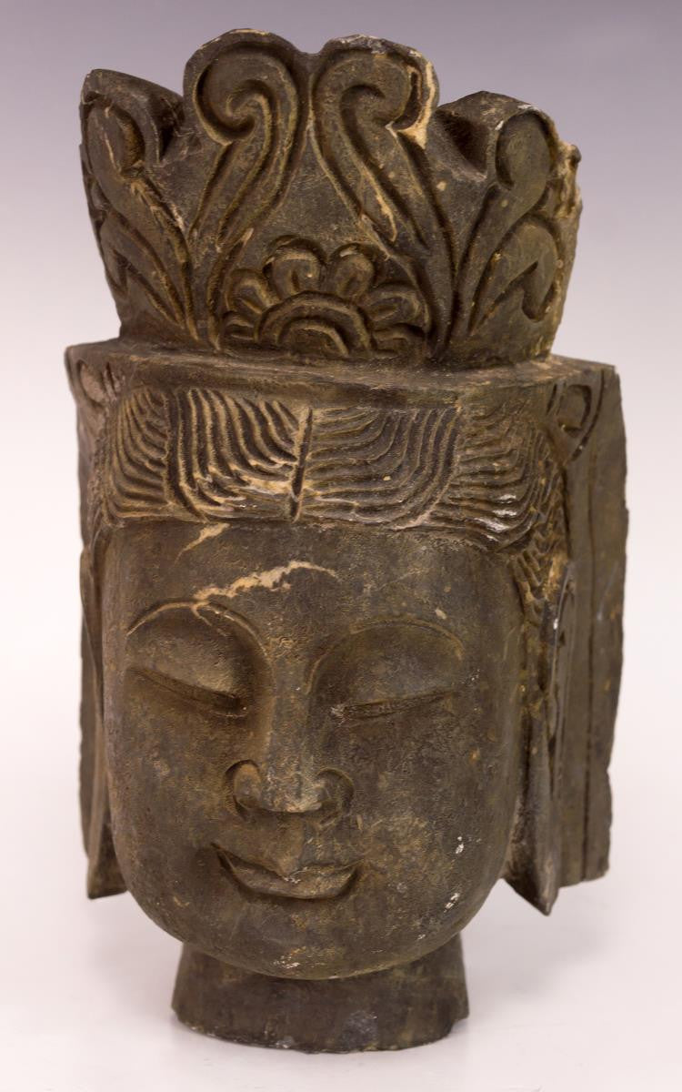 Antique Buddha Head Stone Sculpture