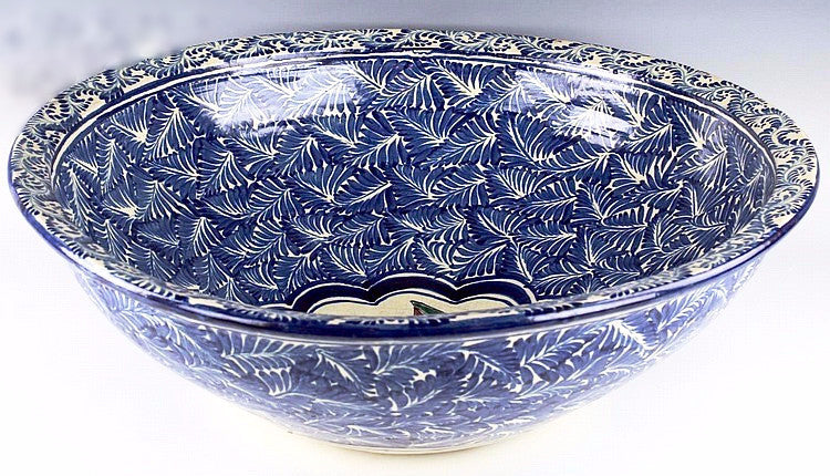 20th C. Mexican Talavera Centerpiece Pottery Bowl