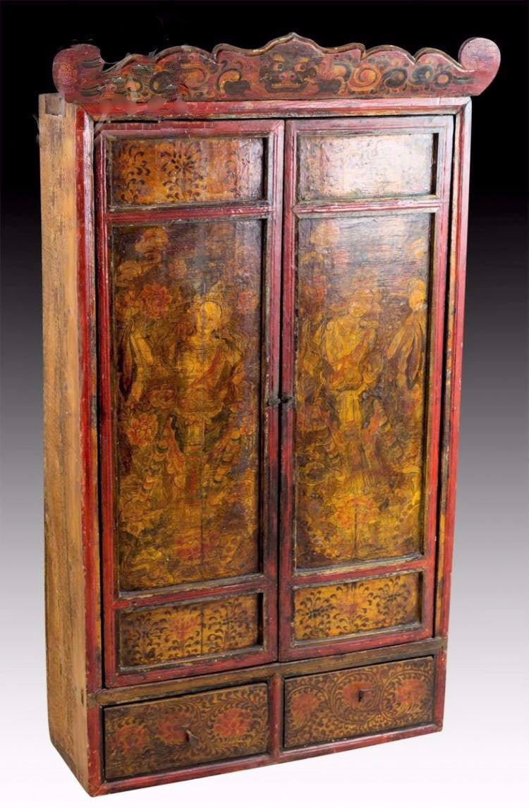Antique Painted Tibetan Cabinet