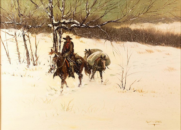 Oil Painting of a Winter Scene by Austin Deuel