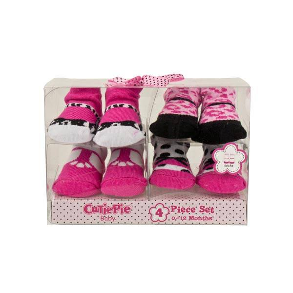 Cutie Pie Baby Sock Pack (4pk) - Pink | Koop.co.nz