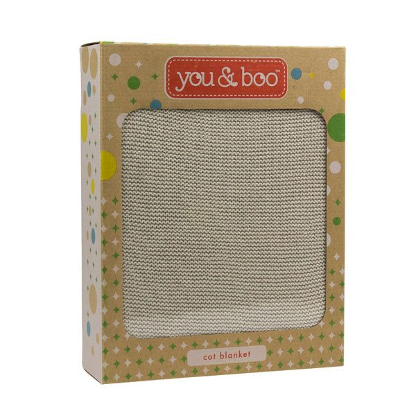 You & Boo Cot Blanket - Stone | Koop.co.nz