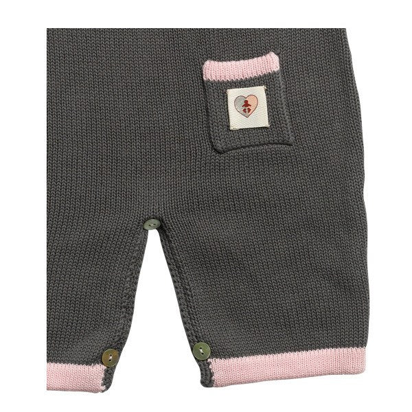 Nurtured By Nature Bud Button Overall - Charcoal & Pink | Koop.co.nz