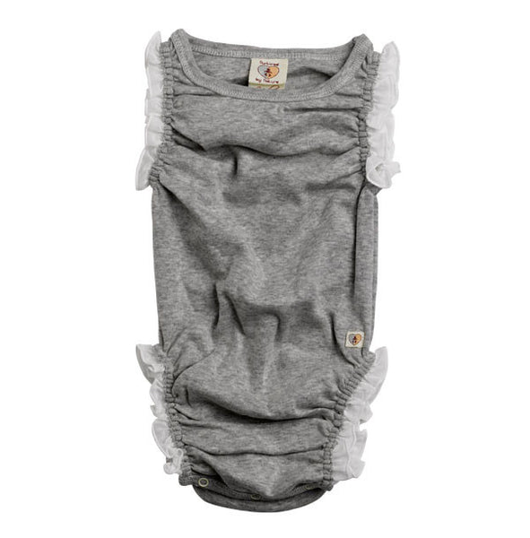 Nurtured By Nature Organic Frilly Romper - Pebble | Koop.co.nz