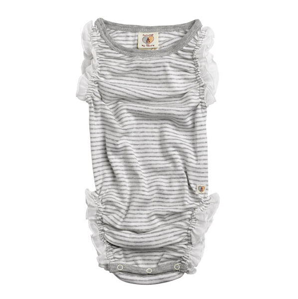 Nurtured By Nature Organic Frilly Romper - Pebble Stripe | Koop.co.nz