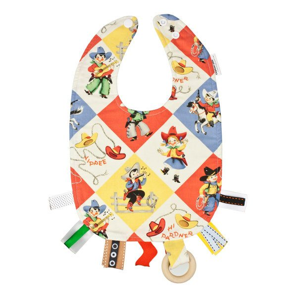 Elephant Ollie Teething Bib - Retro Cowboy | Koop.co.nz