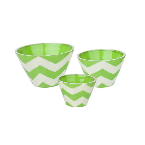 Alumenti Green Chevron Bowl Trio (3pc) | Koop.co.nz