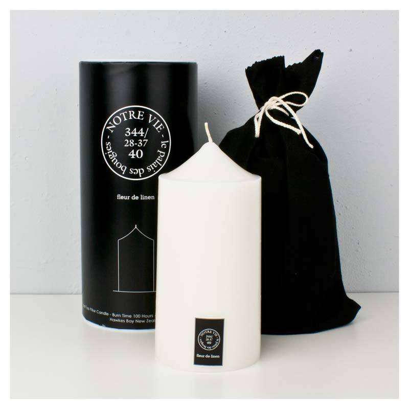 Notre Vie Wide Bell Top Pillar Candle (100hr) - Fleur De Linen | Koop.co.nz