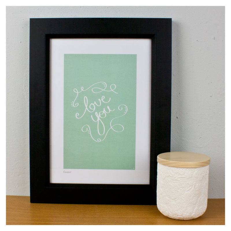 Cenario A4 Print - Love You (Mint) | Koop.co.nz