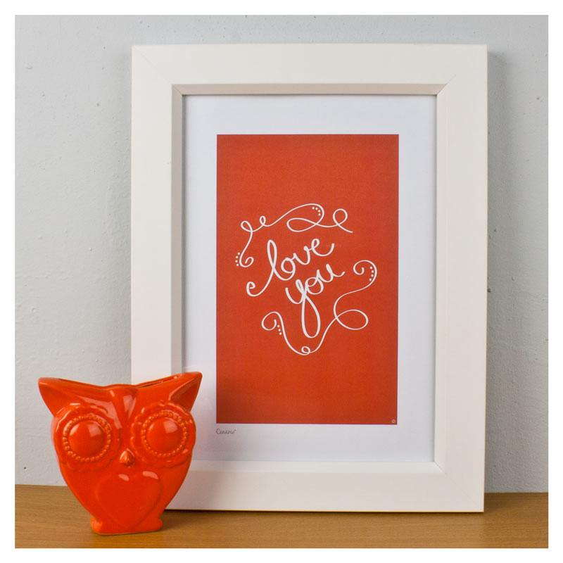 Cenario A4 Print - Love You (Orange) | Koop.co.nz