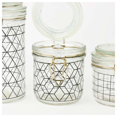 Present Time Black Hexagon Canister - Medium | Koop.co.nz