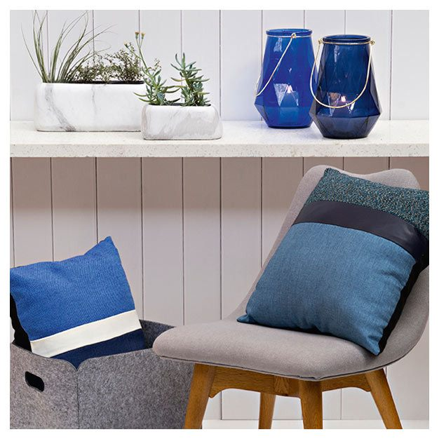 Jason Blue & White Stripe Cushion | Koop.co.nz