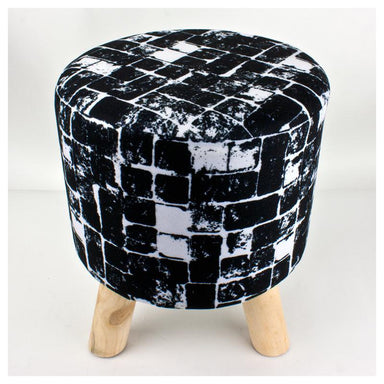 Stoneleigh & Roberson Footstool - Black Squares | Koop.co.nz