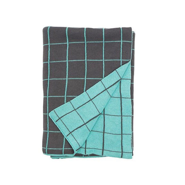 General Eclectic Mint Grid Knit Throw | Koop.co.nz