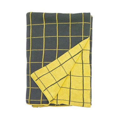General Eclectic Yellow Grid Knit Throw | Koop.co.nz