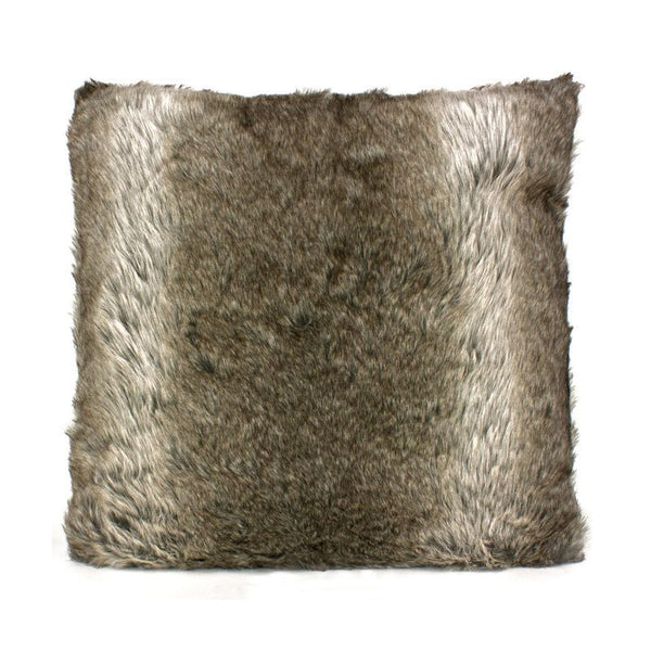 Le Forge Faux Fur Cushion Grey Stripe | Koop.co.nz