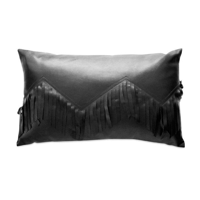 Me & My Trend Black Leatherette Fringe Oblong Cushion | Koop.co.nz